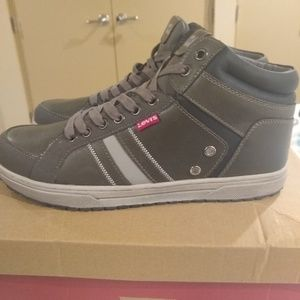 Levi's Mens Dull Grey Leather Sneakers